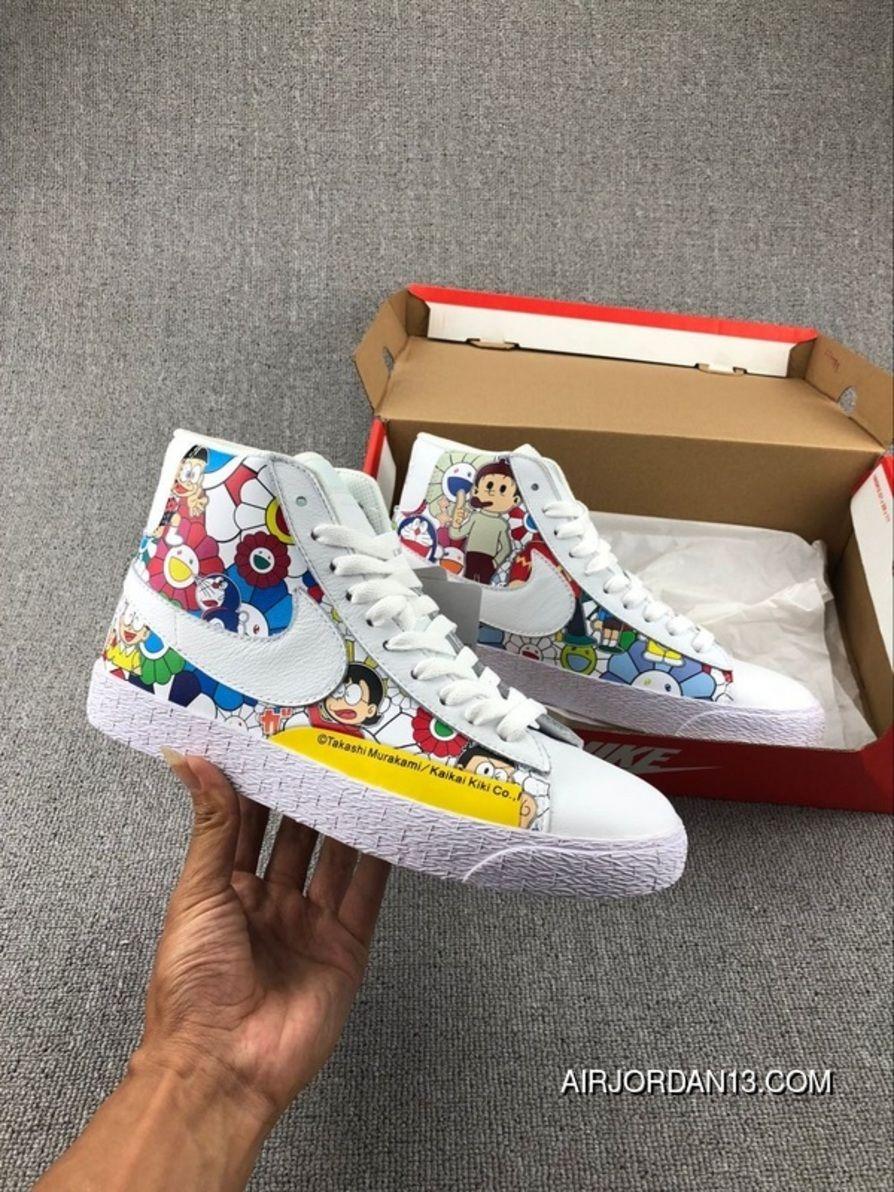 883d8b0f0a6c Takashi Murakami X Doraemon X Nike Blazer Mid Vintage AH2368-618 Painting  Causal Skateboard Shoes Latest