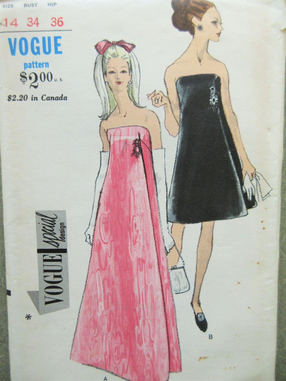 Vintage Vogue 7111 Sewing Pattern, 1960s Dress Pattern, Evening ...