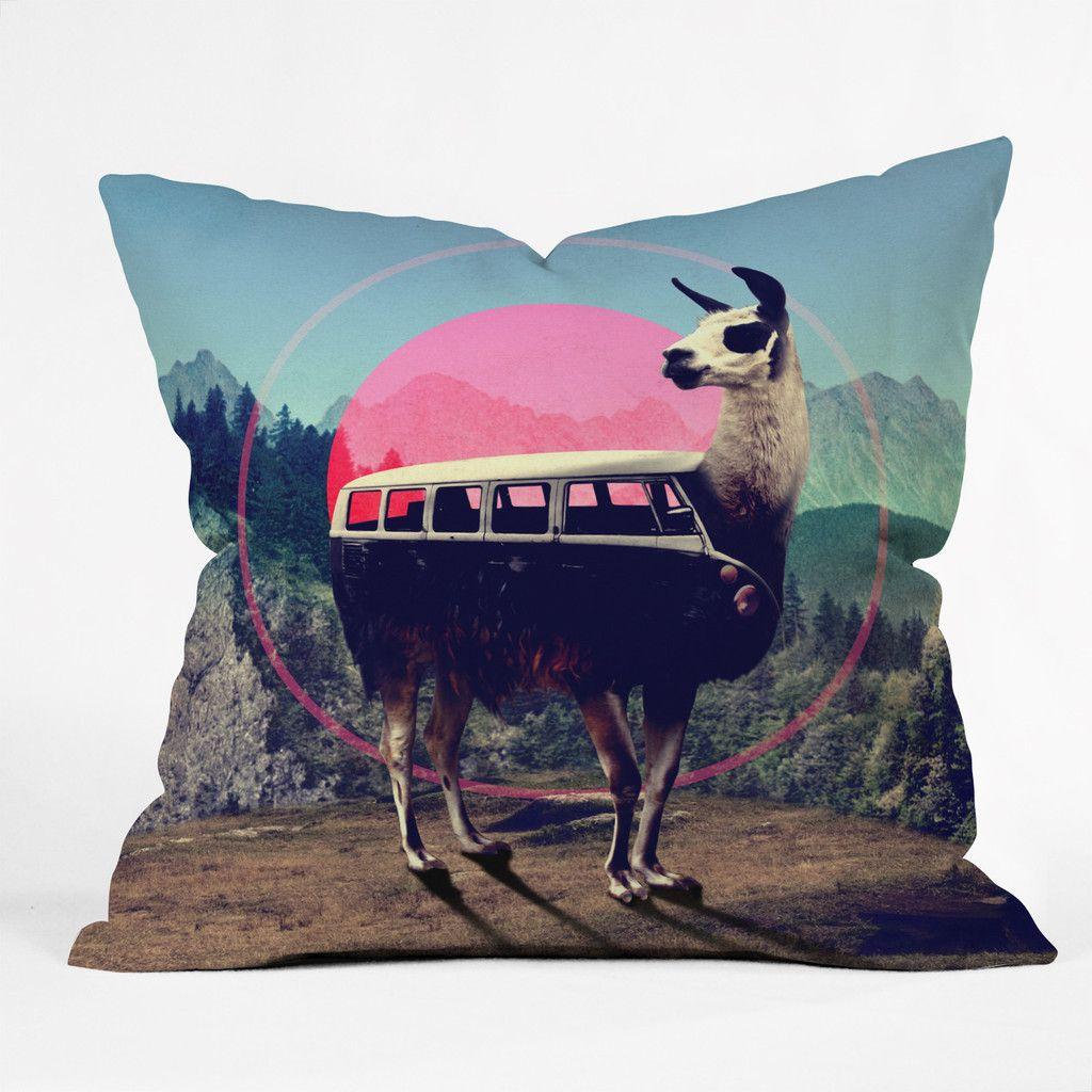 Ali gulec llama van throw pillow deny designs home accessories