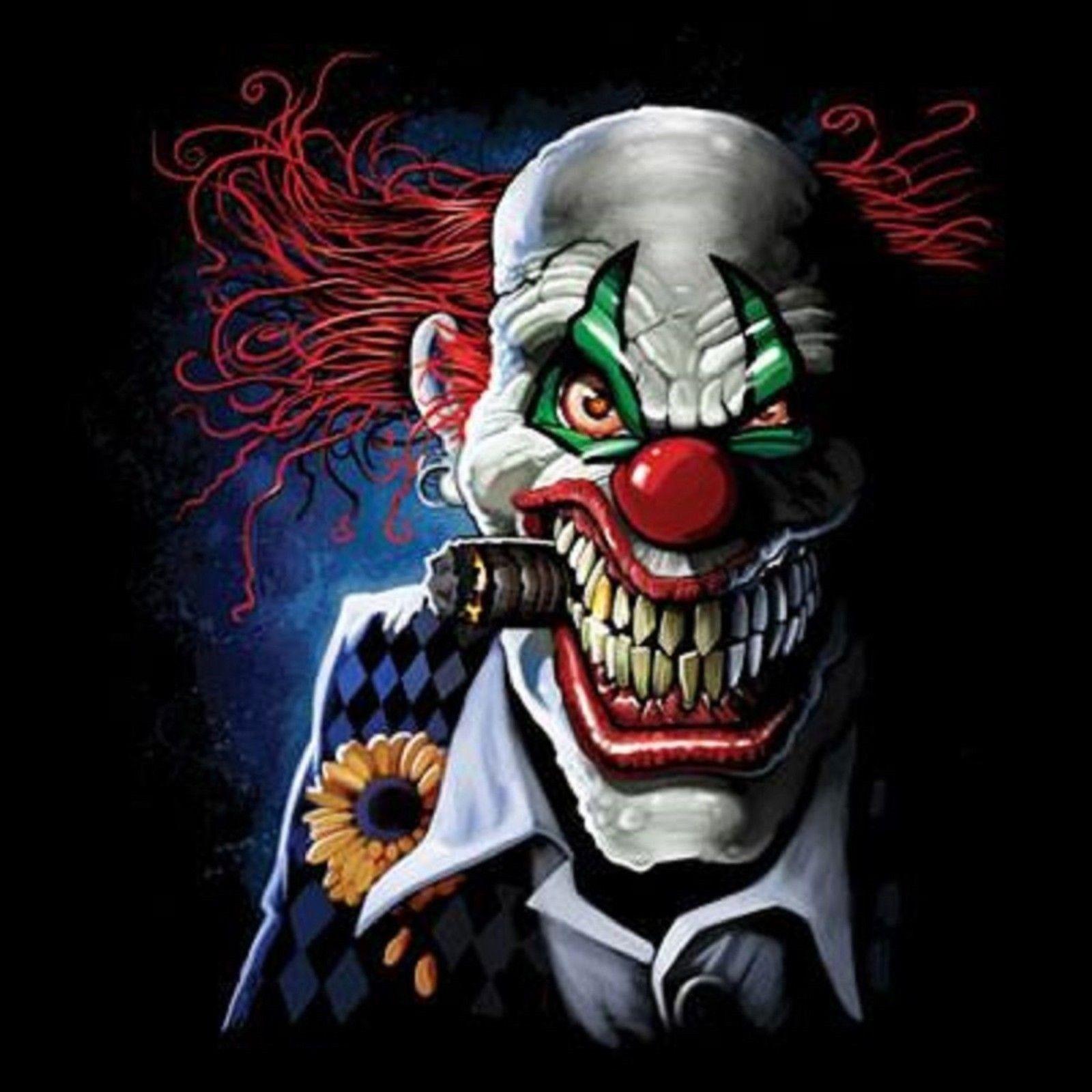 Joker Long Sleeve T Shirt Pick Your Size Ebay Scary Clown Face Scary Clowns Joker Clown