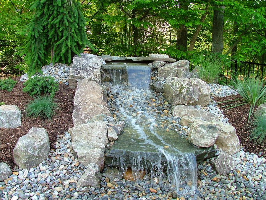 Waterfall designs garden ponds and waterfalls nj for Garden waterfall design