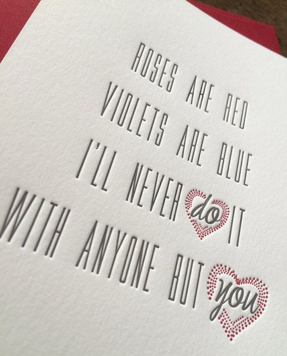 Letterpress Adult Anniversary Valentine Card  Funny Valentine