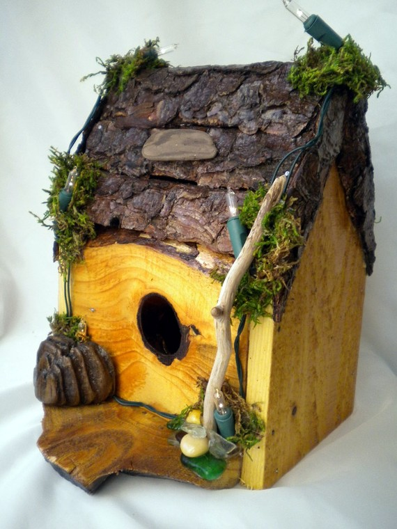 Wood and Bark  Lighted Birdhouse Handcrafted by the20minutegift, $48.00