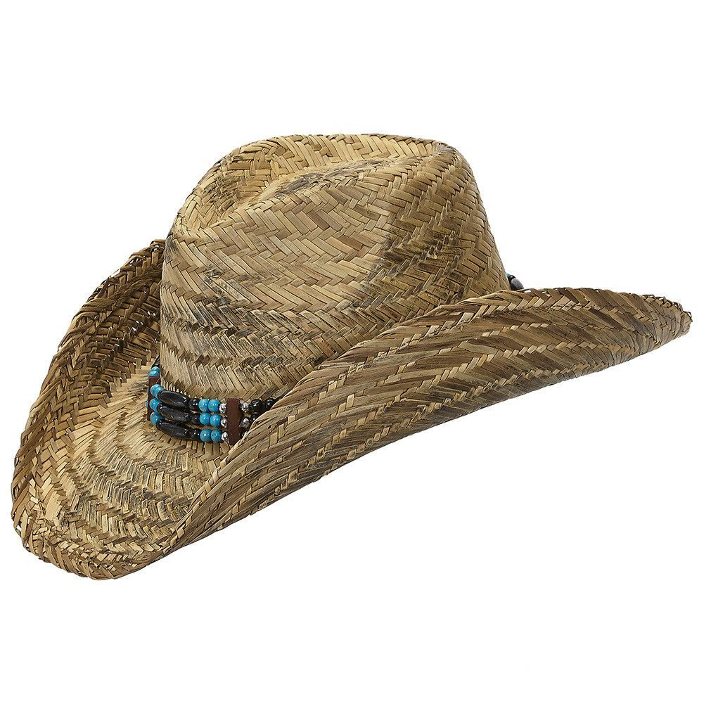 Country Straw Wire Brim Bendable Shapeable Cowboy Hat W/ Bead Band