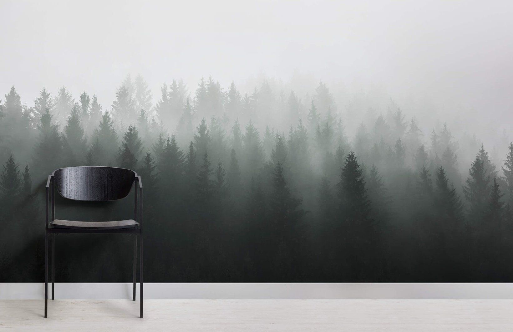 Deep Green Ombre Forest Wall Mural Jadalnia