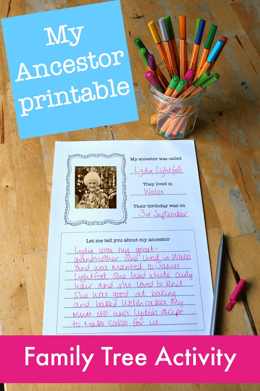 My Ancestor family tree lesson plan printable - NurtureStore