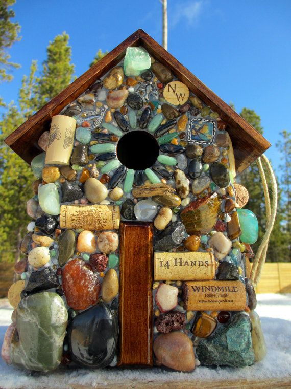 stone mosaic birdhouse. use liquid nails adhesive and seal with shellac when finished