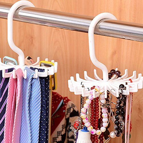 KANG  20 Hook Tie Rack Organizer Hanger Belt Holder Closet Hook Ties  Storage Necktie