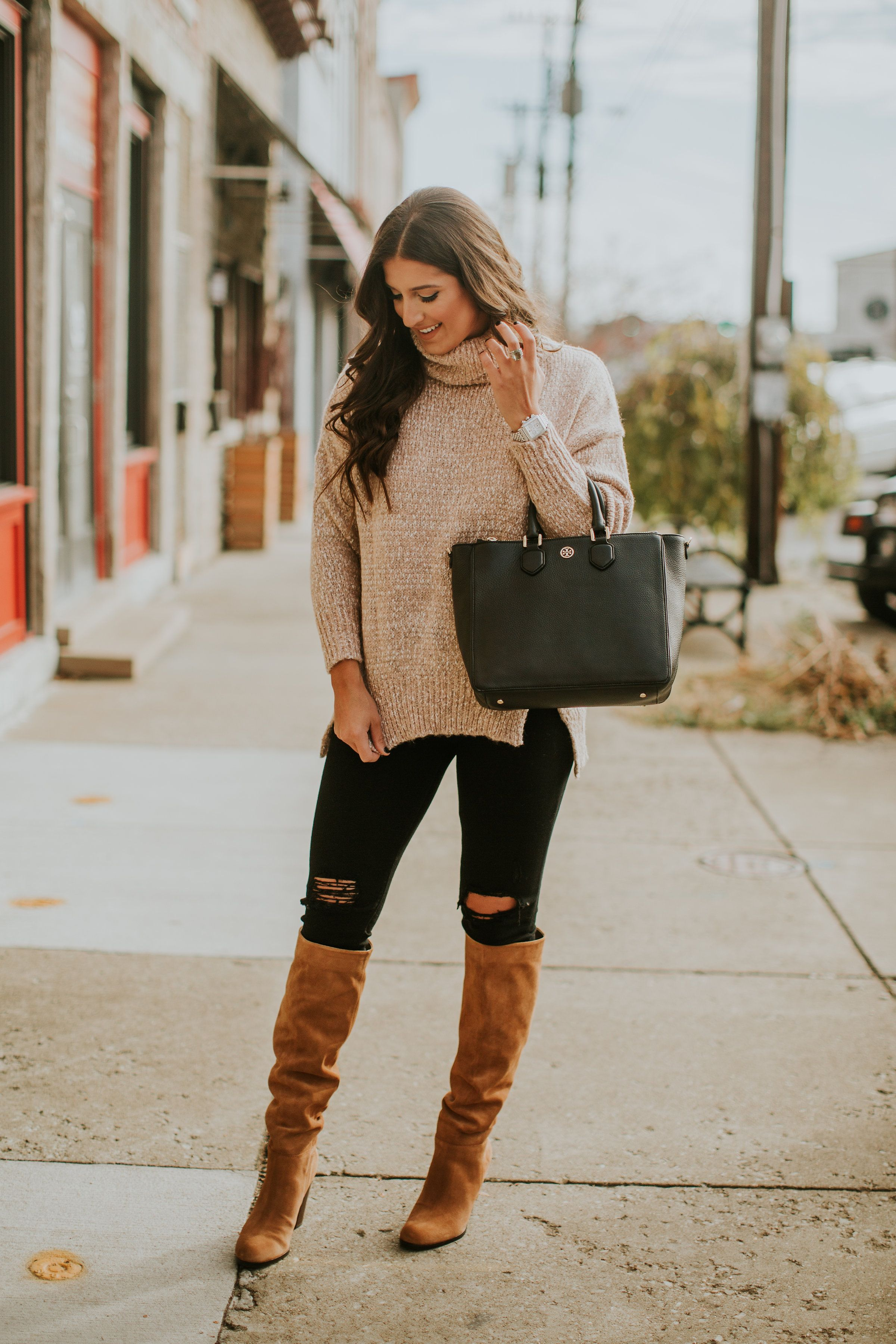 neutral turtleneck sweater | southern fashion, winter style and
