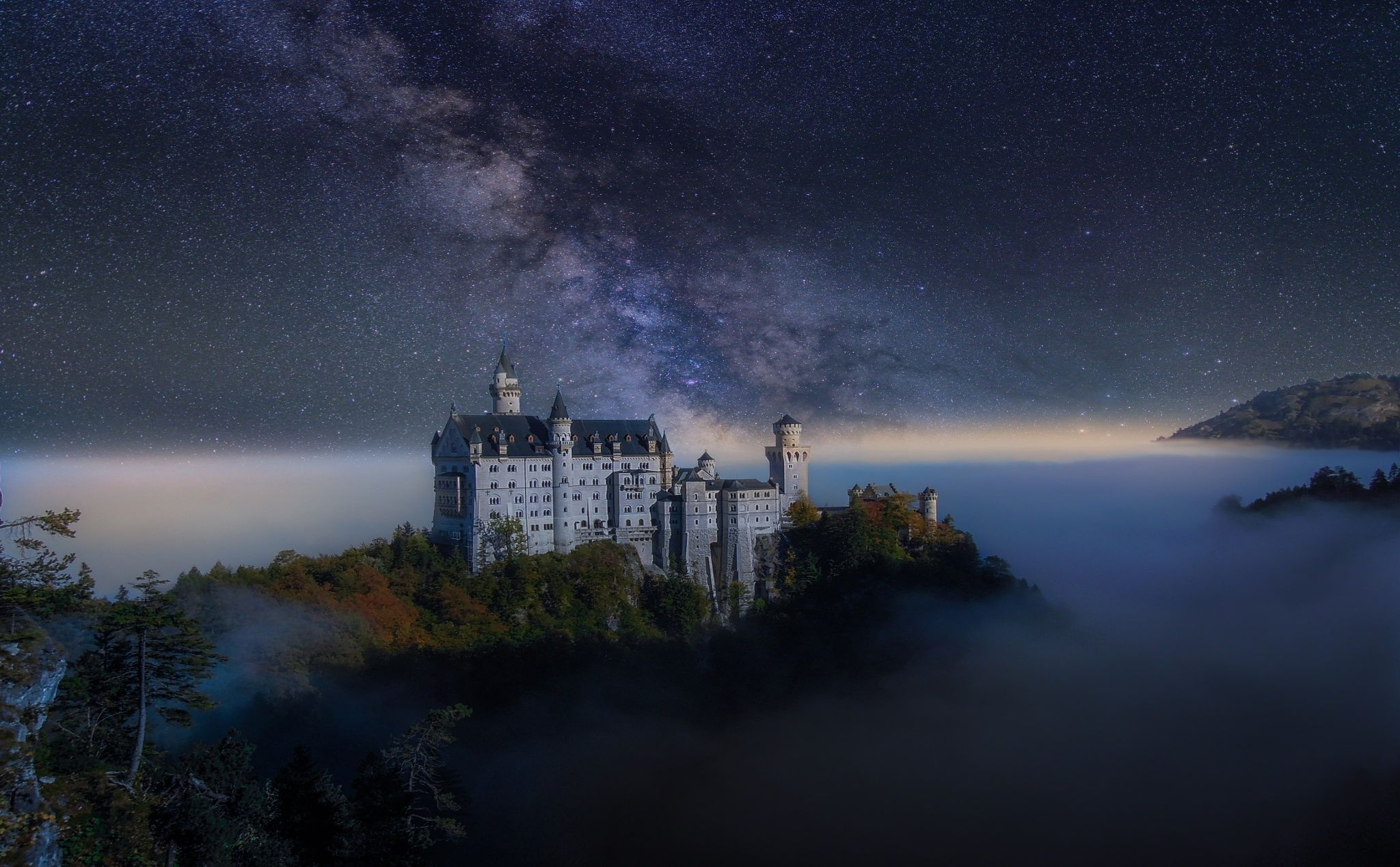 Neuschwanstein under stars