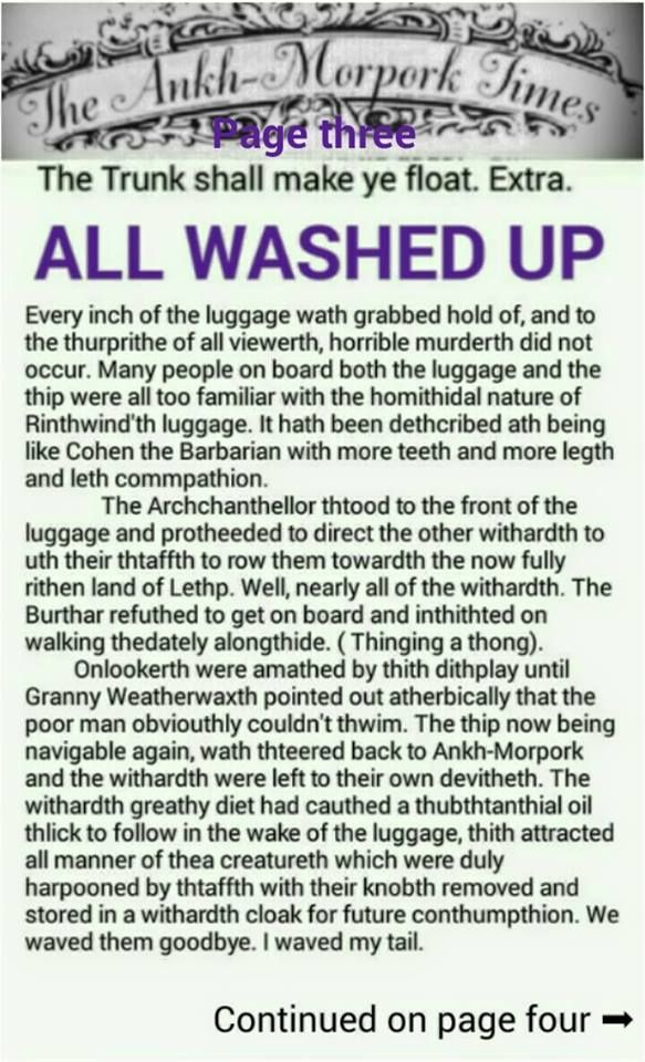 The Ankh-Morpork Times. The Trunk shall make ye float. Extra. ALL WASHED UP. page three. by David Green.