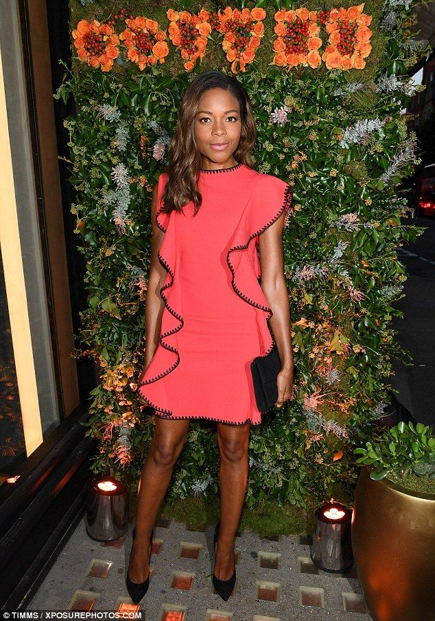 Naomie Harris Dresses In A Stylish Coral Minidress For Boutique