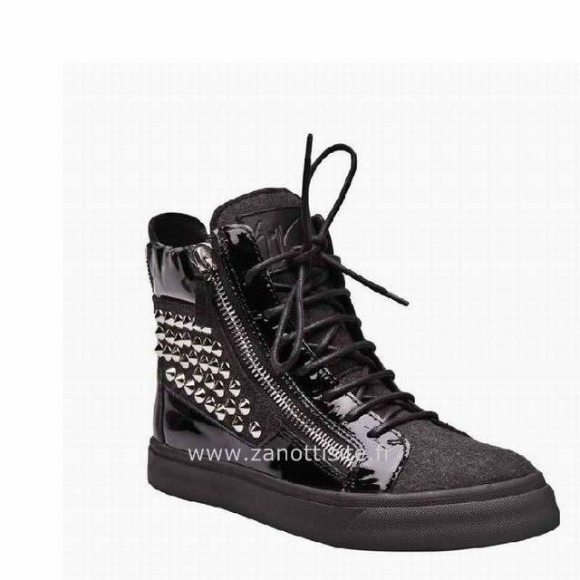 Giuseppe Zanotti High Top Sneakers en cuir et daim noir clouté Giuseppe  Morandini