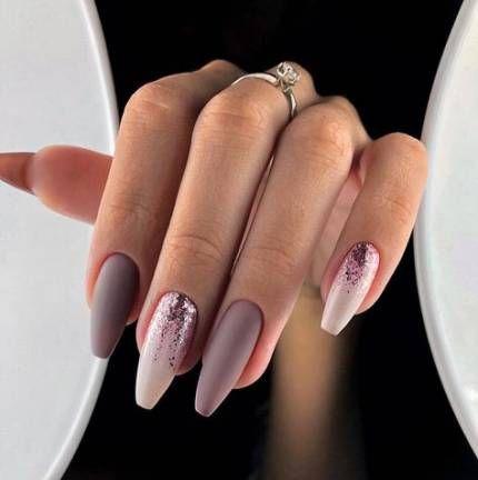 trendy nails ombre pink glitter art designs ideas nails