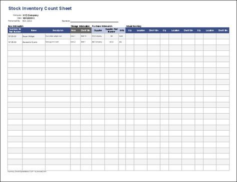 Inventory Control Template - Free Stock Inventory Control