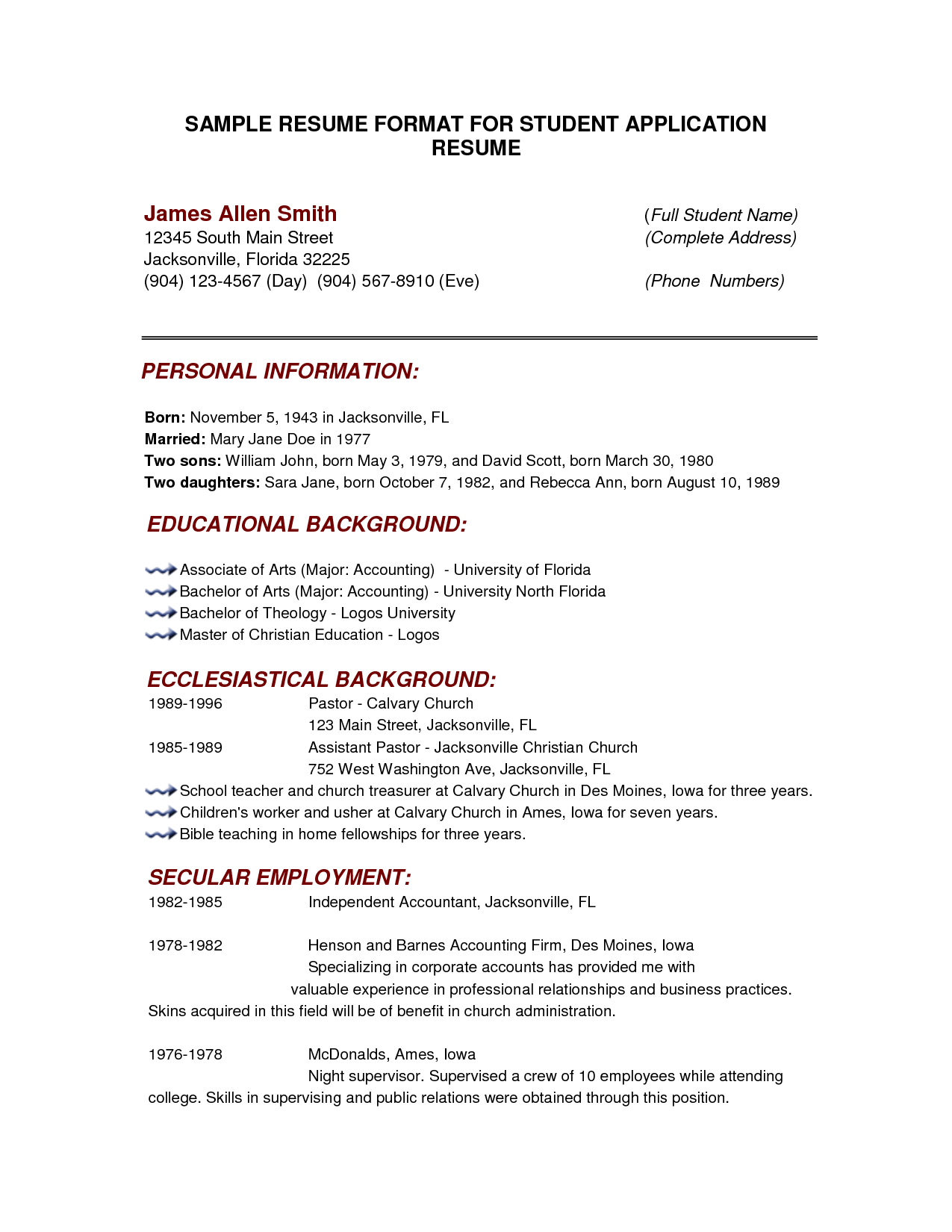 College Resume Format Cover Letter Sample For Job Application Resume Format With  Home