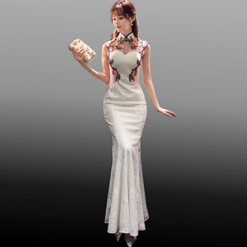 0fd096efe 2017 New Traditional Chinese Modern Cheongsam White Lace Embroidery Qipao  Wedding Dress Women Qi Pao Oriental Style Dresses Sexy-in Cheongsams from  Novelty ...