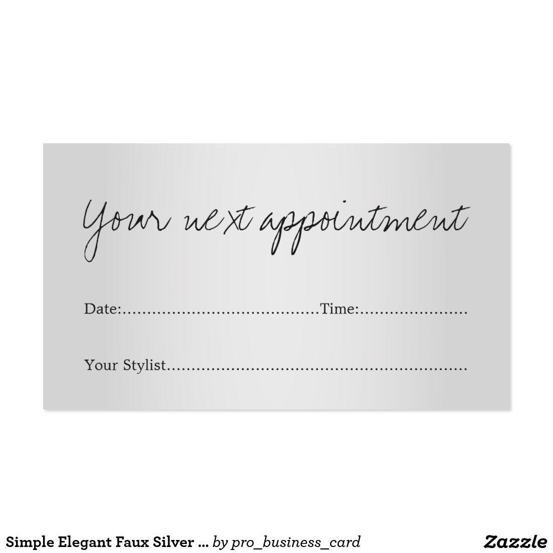 Simple Elegant Faux Silver Salon Appointment Card | Logo ideas ...