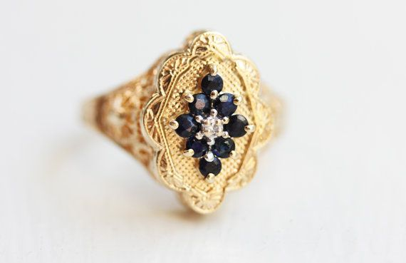 10K Gold Sapphire Filigree Ring  Size 7 by diamentdesigns on Etsy, $325.00