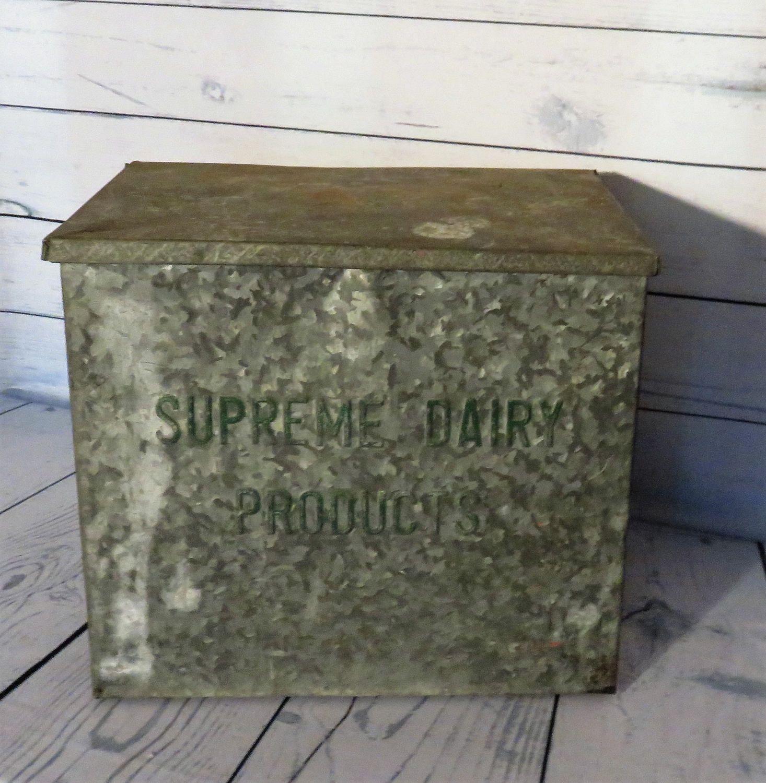 Galvanized Metal Milk Box Supreme Dairy Milk Box Farmhouse Decor Porch Box Country Kitchen 1950 S Milk Box By Ginnys Galvanized Metal Milk Box Porch Boxes