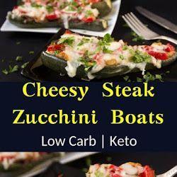 Keto Cheesy Steak Zucchini Boats #chocolatefrosty QUICK & EASY LOW CARB CHOCOLATE FROSTY RECIPE - #HealthyRecipes #chocolatefrosty