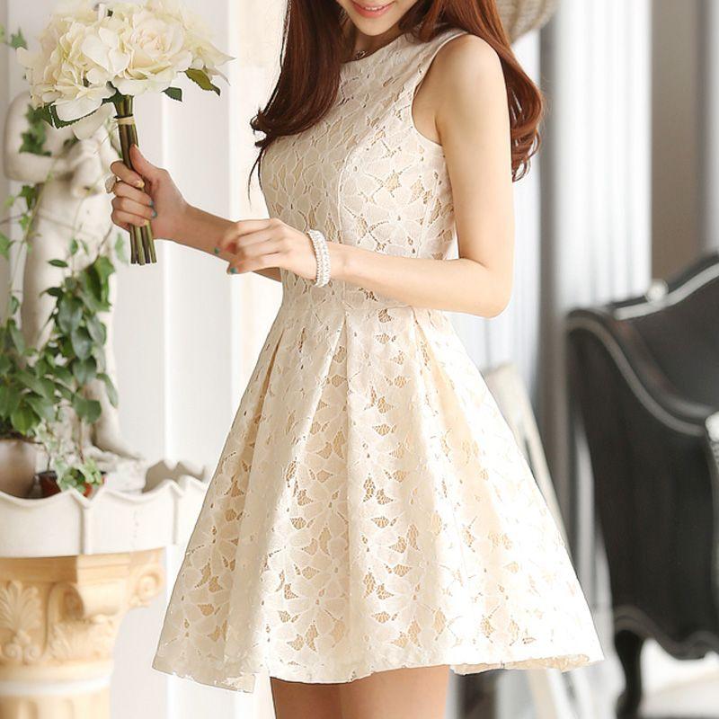 Beige Floral Lace Sleeveless Dress #SleevelessDress  #LaceDress #BeigeDress