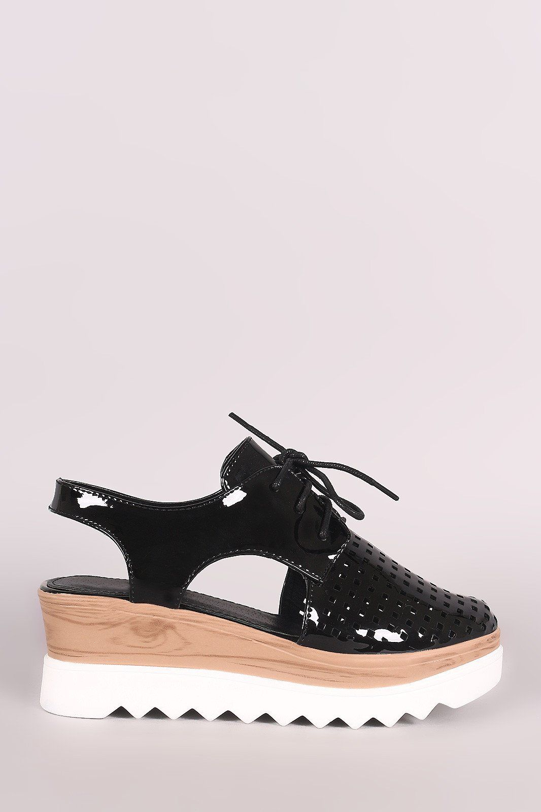 e43a1a75490 Perforated Metallic Lace Up Cutout Oxford Platform Wedge