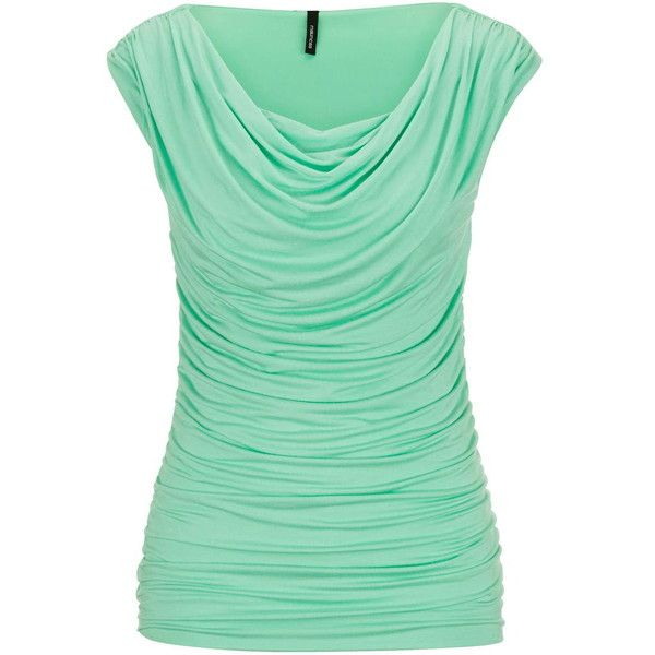 maurices Drape Neck Sleeveless Top found on Polyvore featuring polyvore, fashion, clothing, tops, shirts, mojito, sleeveless tank tops, sleeveless tank, green tank top and green sleeveless top