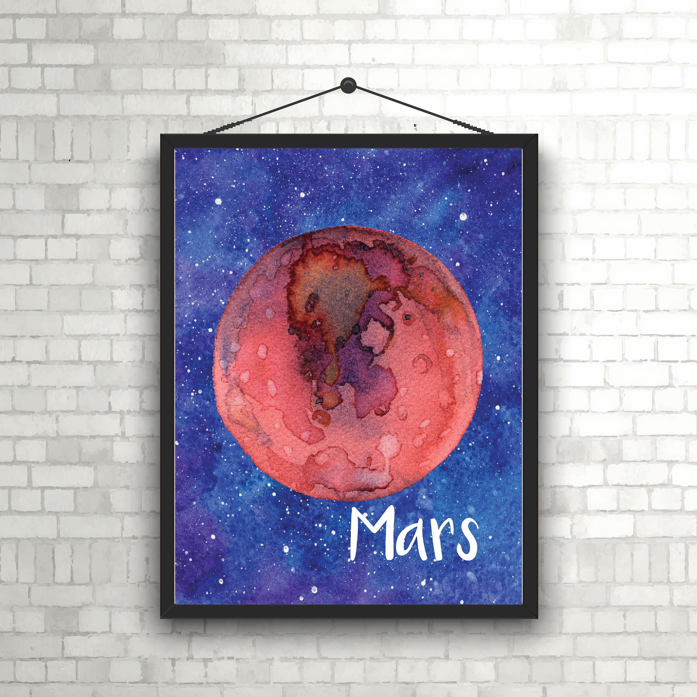 Mars print astronomy print 8x10 print space