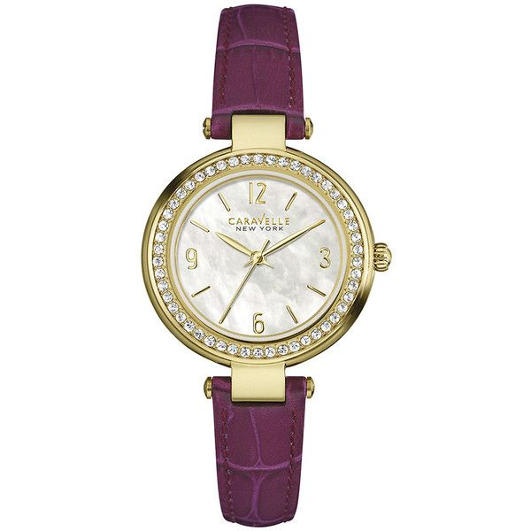 Caravelle New York Womens Crystal-Accent Purple Leather Strap Watch... ($110) ❤ liked on Polyvore featuring jewelry, watches, purple watches, leather wrist watch, caravelle by bulova, sparkle jewelry and dial watches