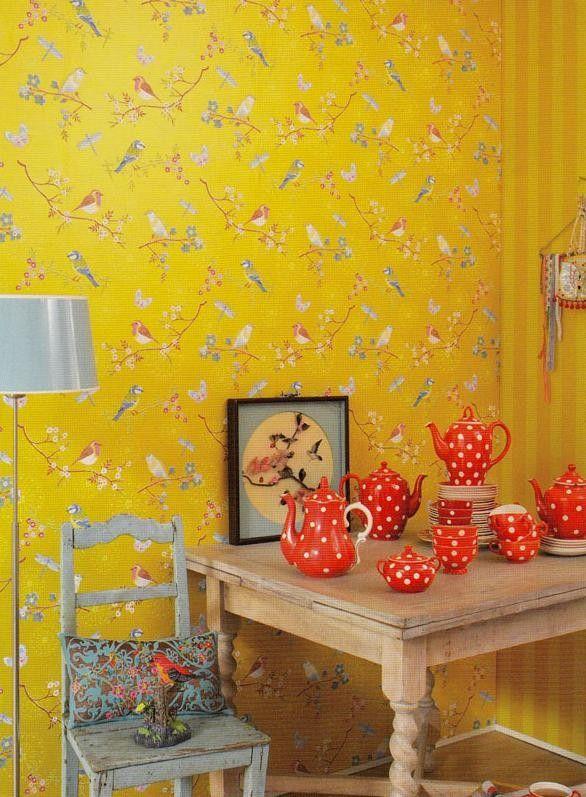 Eijffinger Pip Studio Behang.Eijffinger Pip Studio Behang 386014 Early Bird Geel