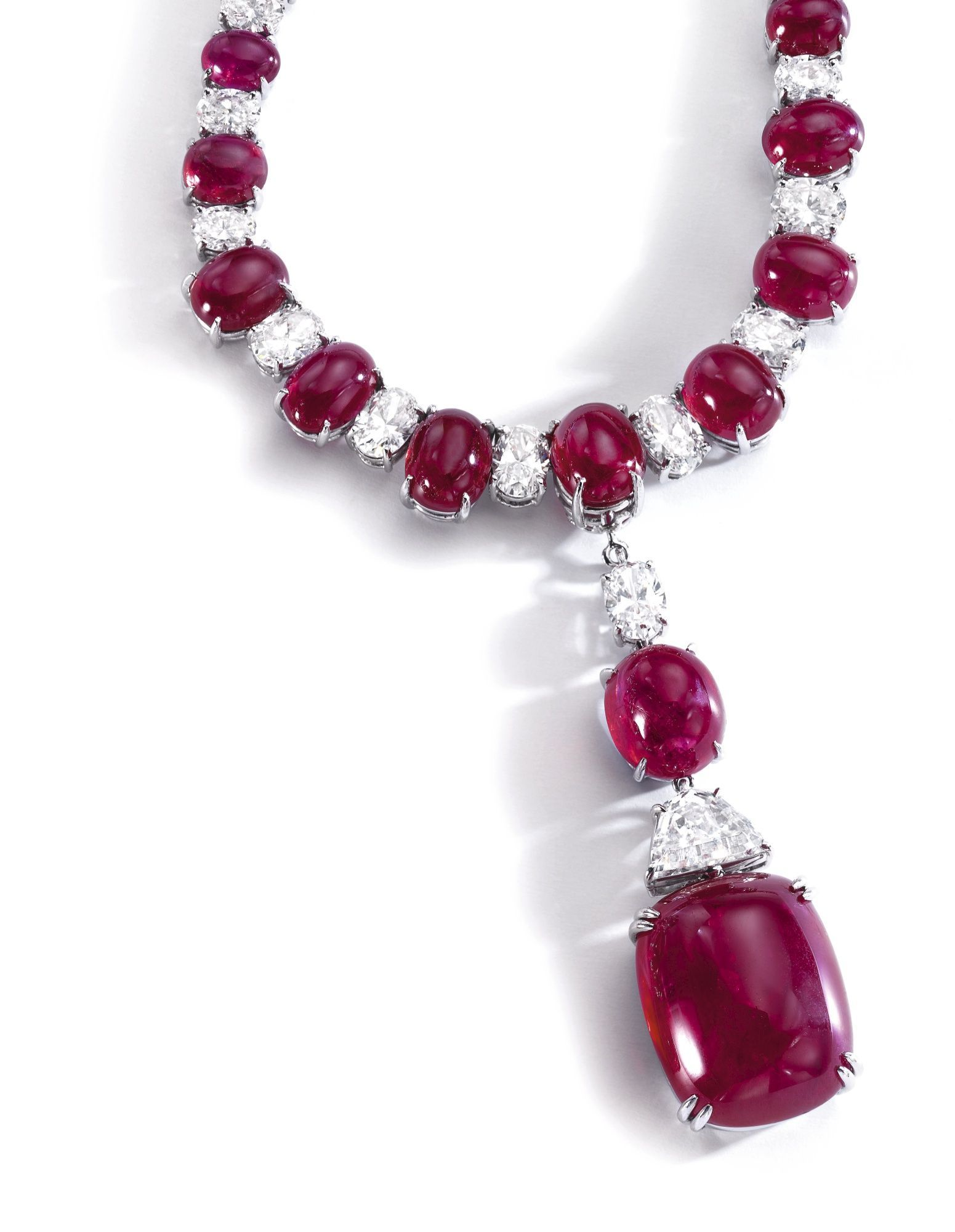 Ruby and diamond necklace Bulgari Set with cabochon rubies and