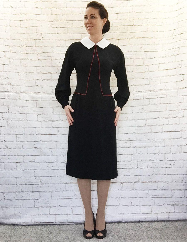 Vintage 80s Does 40s Art Deco Dress Black White Collar Red Etsy Art Deco Dress Dresses Vintage Outfits [ 1163 x 900 Pixel ]