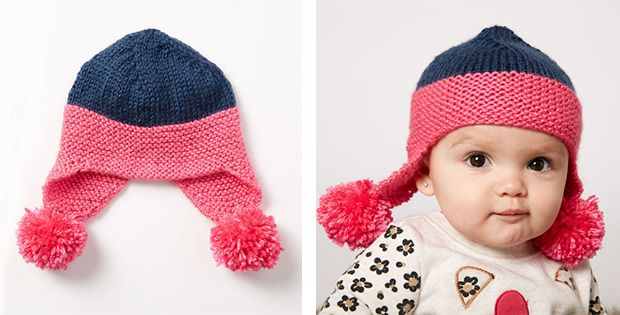 Bubbly Baby Knitted Earflap Hat [FREE Knitting Pattern ...
