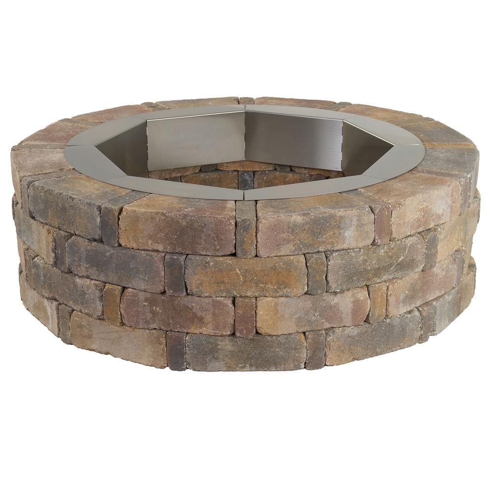 Pavestone Rumblestone 46 In X 14 In Round Concrete Fire Pit Kit No 2 In Sierra Blend With Round Steel Insert Fire Pit Essentials Fire Pit Video Fire Pit Backyard