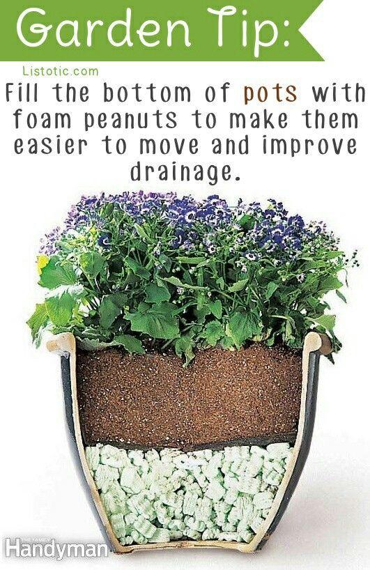Unique Sind in deinem Garten Pflanzer zu schwer um sie zu bewegen Verwenden Verpackungsmaterial oder Erdnusschalen so kannst du das Gewicht halbieren und