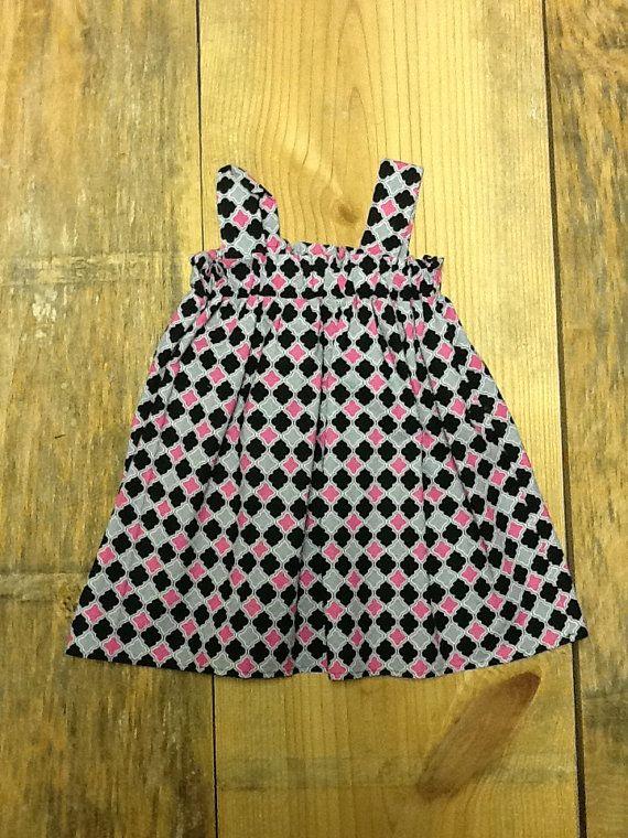 Girls Babydoll Dress OR Top. Hot Pink Black by EverythingSorella