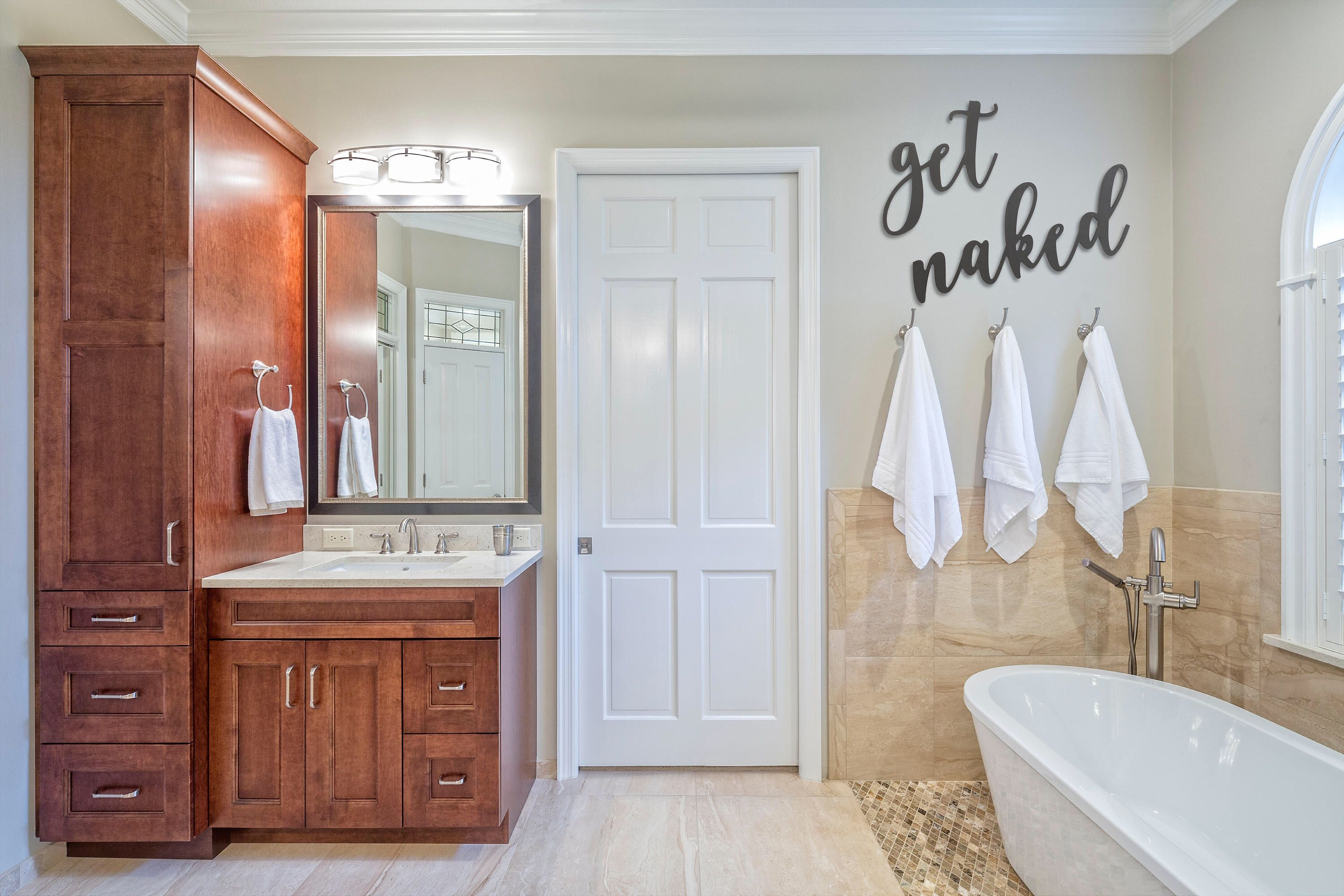 Get Naked* Bathroom* Housewarming* Custom* Word* Farmhouse* Cursive* Wood