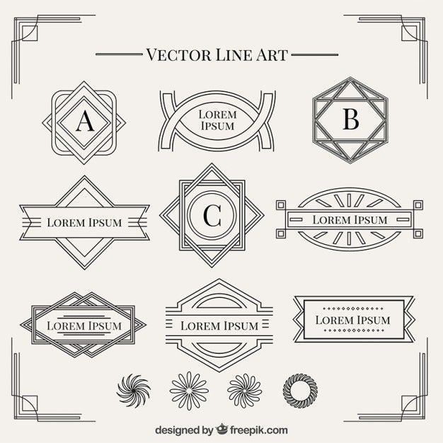 Art Deco Design Elements shapes in art deco style collection free vector | next project|sor