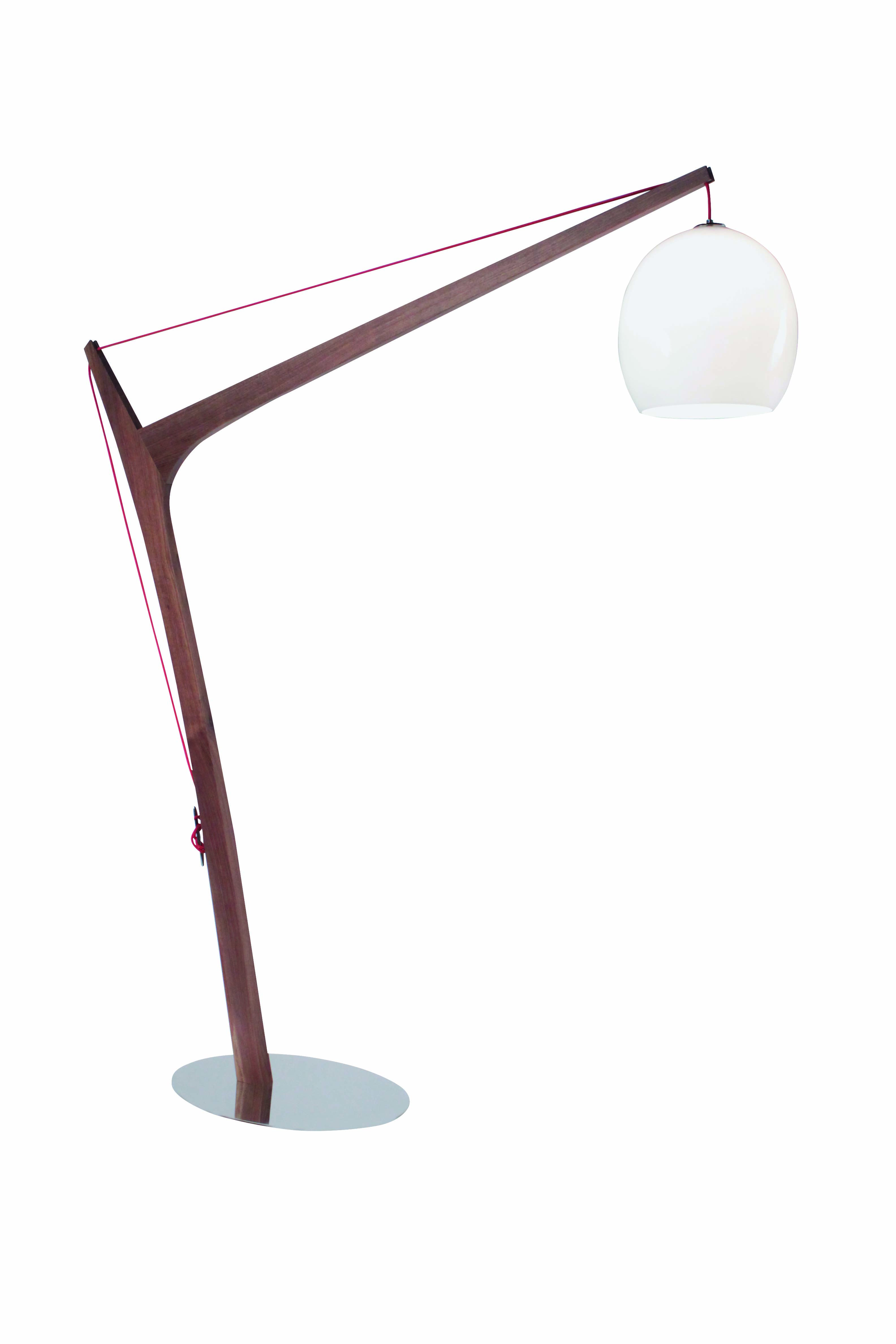 Accastillage Floor Lamp Stainless Steel Base Walnut