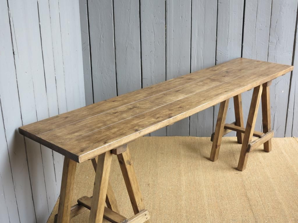 Plank Top Trestle Tables A Frame Table Bespoke Made To Measure Pine Reclaimed
