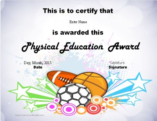 Pe teacher certification pe certificate pinterest pe teachers physical education awards and certificates free yadclub Images