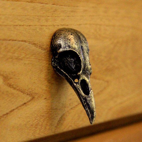 Antique Gold Metal Bird Skull Cabinet Knob Drawer Pull | Metal ...