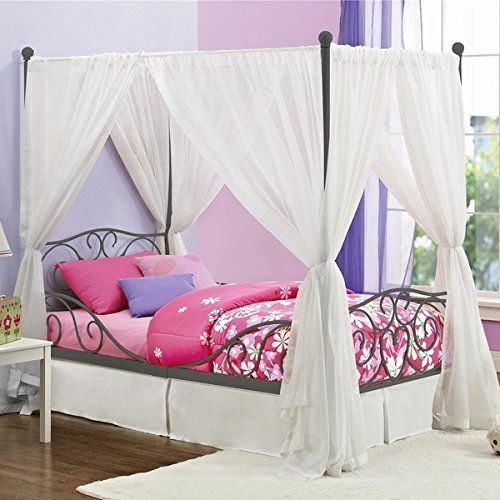 Girl S Grey Metal Canopy Bed Twin Sized Princess Gray Frame