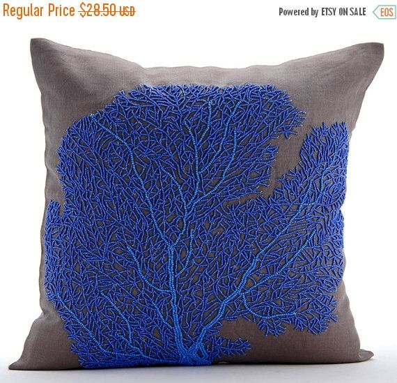 """15% HOLIDAY SALE Brown Decorative Pillow Cover, Square Beaded Shrub Sea Creatures Ocean & Beach Theme 16""""x16"""" Cotton Linen Pillowcase - Roya by TheHomeCentric on Etsy https://www.etsy.com/listing/475927890/15-holiday-sale-brown-decorative-pillow"""