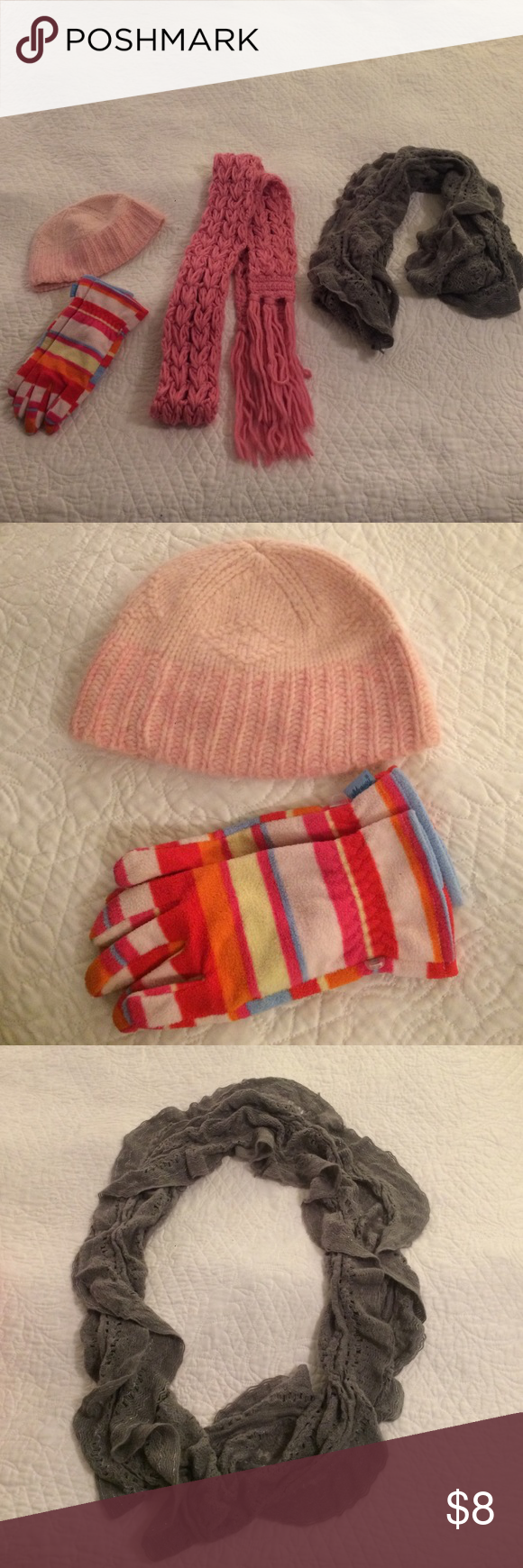 Set of 4 items!  2 scarves, 1 hat, 1 pair gloves! Women's American Eagle pink hat, Old Navy striped gloves (kids large, adult small).  Grey infinity scarf (never worn), and pink yarn scarf. American Eagle Outfitters Accessories Scarves & Wraps