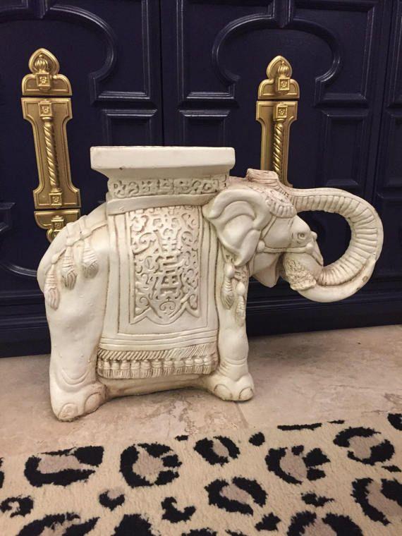 White Vintage Ceramic Elephant Garden Stool or Table- Chinoiserie-Palm Beach Regency