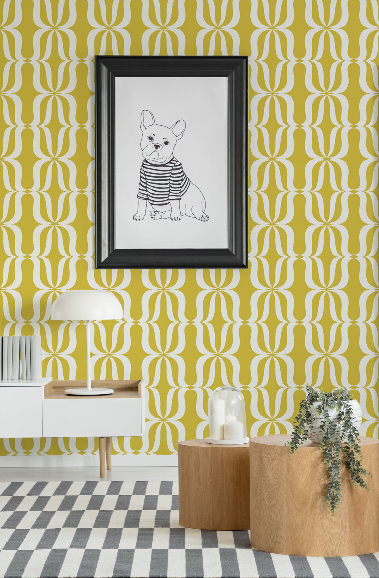 Yellow Abstract Wallpaper With Retro Pattern Peel And Stick Etsy Geometric Wallpaper Abstract Wallpaper Wallpaper