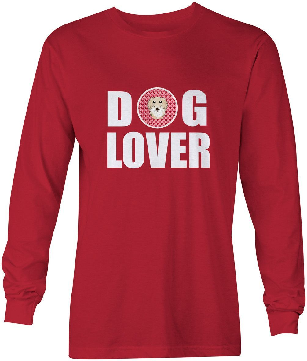 Longhair Creme Dachshund Dog Lover Long Sleeve Red Unisex Tshirt Adult Large BB5282-LS-RED-L