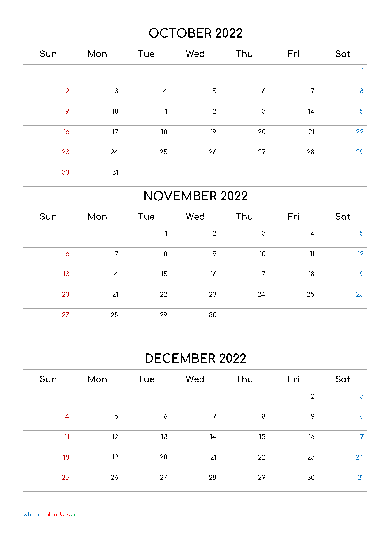 December 2022 Calendar Printable Free.October November December 2022 Calendar Printable Free Q1 Q2 Q3 Q4 Calendar Printables Free Calendar Template Calendar Template